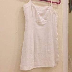 Free People Button-Up Mini Dress, White Linen, XS